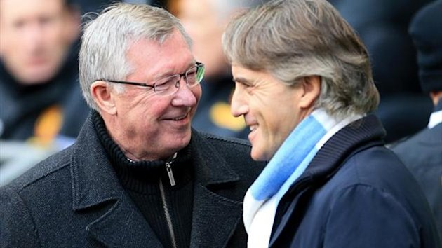 Manchester City manager Roberto Mancini and Manchester United manager Sir Alex Ferguson (left) greet each other (PA Photos)