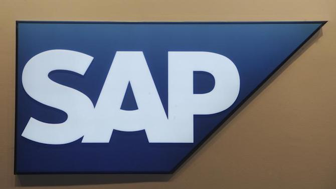 Logo of German company SAP is pictured at the CeBit computer fair in Hanover