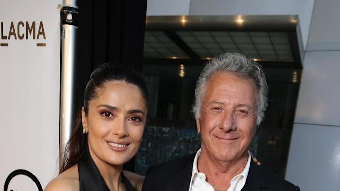 "Producer Salma Hayek and Dustin Hoffman seen at Participant Media Special Los Angeles Screening of ""Kahlil Gibran's The Prophet"" held at LACMA's Bing Theater on Wednesday, July 29, 2015, in Los Angeles. (Photo by Eric Charbonneau/Invision for Participant Media/AP Images)"