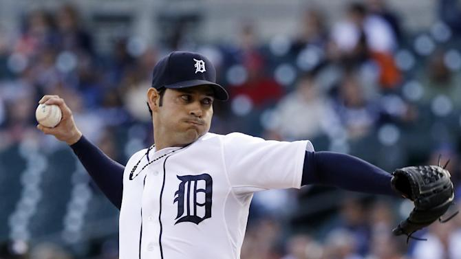 Detroit Tigers starting pitcher Anibal Sanchez throws during the first inning of a baseball game against the Tampa Bay Rays in Detroit, Tuesday, June 4, 2013. (AP Photo/Carlos Osorio)