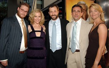 Premiere: Seth Rogen, Leslie Mann, director Judd Apatow, Steve Carell and Nancy Walls at the Hollywood premiere of Universal Pictures' The 40-Year-Old Virgin - 8/11/2005