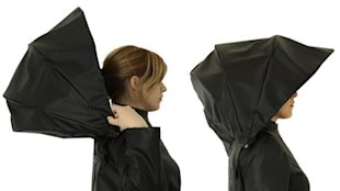 The Umbrella Coat Raincoat combines two rainy-day essentials. (Photo by Vassilis Makris, via ABCNews.com)