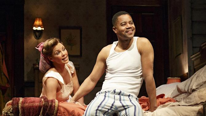 """This theater publicity image released by The Hartman Group shows Vanessa Williams, left, and Cuba Gooding Jr., during a performance of """"The Trip to Bountiful"""" at the Stephen Sondheim Theatre in New York. (AP Photo/The Hartman Group, Joan Marcus)"""
