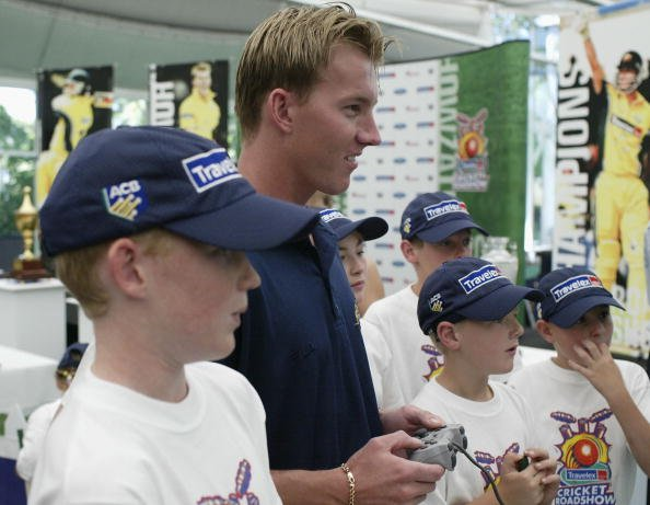 Brett Lee has a go of playstation