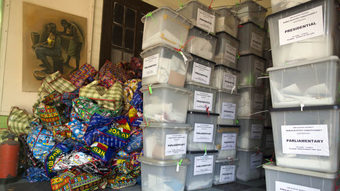 Ballot boxes sit unattended at an election materials collection point at the Art Center in Accra, Ghana, Saturday, Dec. 8, 2012. About 225 polling stations reopened Saturday for an unexpected second day of voting here after there were technical breakdowns on the first day of voting, Ghana voting officials announced. Some voters waited in line all day Friday and then returned to vote on Saturday. 3(AP Photo/Gabriela Barnuevo)