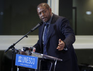 FILE - In this Feb. 7, 2012 file photo, actor Forest Whitaker speaks in Paris. Sarah Jessica Parker, Kerry Washington and Forest Whitaker are signing up for a new initiative Monday with the Obama administration to adopt some of the nation's worst-performing schools and help turn them around by integrating arts education throughout the schools. (AP Photo/Remy de la Mauviniere, File)