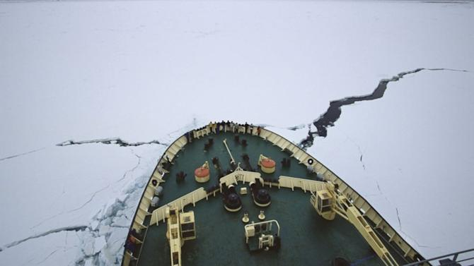 Ship Stuck in Antarctic Ice Blinded by Blizzard