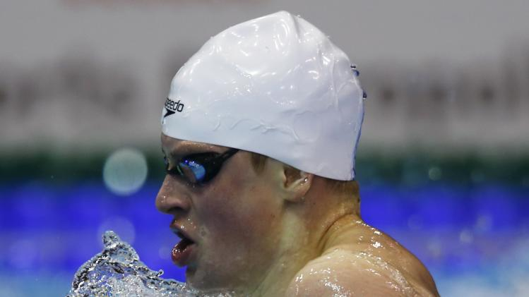 Peaty of Britain swims in the men's 200m breaststroke heats at the European Swimming Championships in Berlin