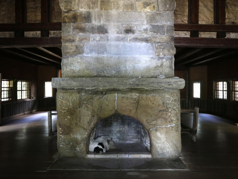 In this Tuesday, July 30, 2013 photo, Swix, a dog owned by master carpenter Michael Frenette, naps in a fireplace in the main hall at Camp Santanoni, an Adirondack great camp that is being restored, in Newcomb, N.Y. (AP Photo/Mike Groll)
