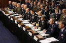 U.S. military generals testify about pending legislation regarding sexual assaults in the military at a Senate Armed Services Committee on Capitol Hill in Washington