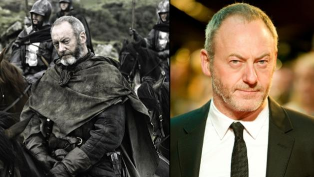 Liam Cunningham as Davos Seaworth (left) and at the 'War Horse' premiere in London (right)  -- HBO/Getty Images