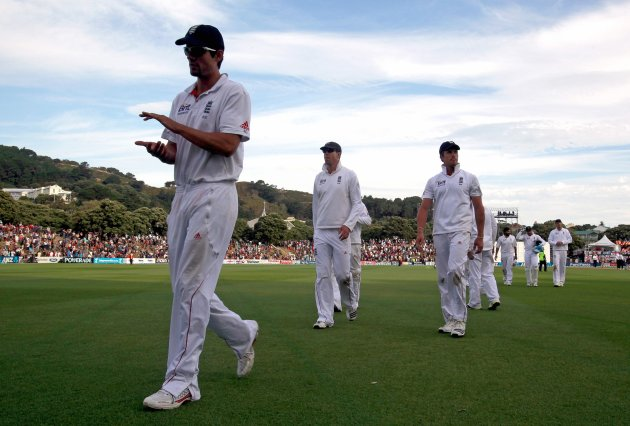 England's captain Cook leads his team off the ground at the end of the third day second test against New Zealand in Wellington