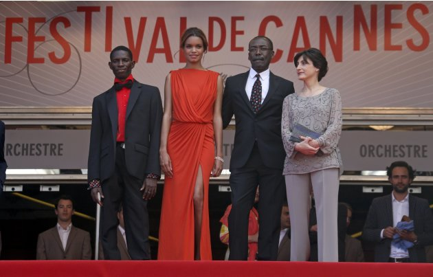 "Director Mahamat-Saleh Haroun and cast members arrive for the screening of the film ""Grigris"" in competition during the 66th Cannes Film Festival"