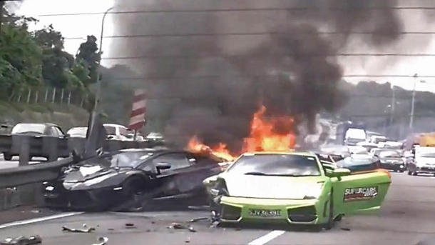 Three burning Lamborghinis in Malaysia
