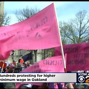 Hundreds March In Oakland For Minimum Wage Increase
