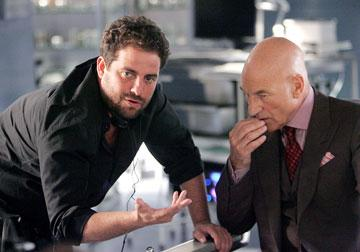Director Brett Ratner and Patrick Stewart on the set of 20th Century Fox's X-Men: The Last Stand