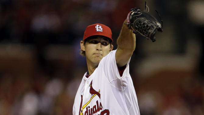 St. Louis Cardinals starter Michael Wacha thows his first pitch during his major league debut in a baseball game against the Kansas City Royals, Thursday, May 30, 2013, in St. Louis. (AP Photo/Jeff Roberson)