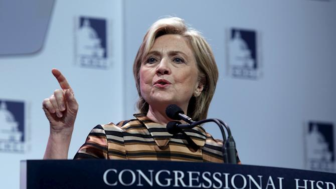 U.S. Democratic presidential candidate Hillary Clinton delivers remarks at the Congressional Hispanic Caucus Institute's 38th annual Awards Gala in Washington