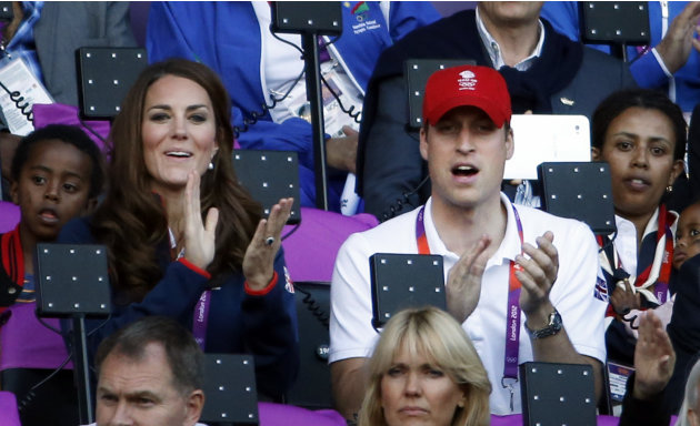 From left, Catherine, the Duchess of Cambridge, and Prince William, the Duke of Cambridge, watche athletics competition in the Olympic Stadium at the 2012 Summer Olympics, Saturday, Aug. 4, 2012 in Lo