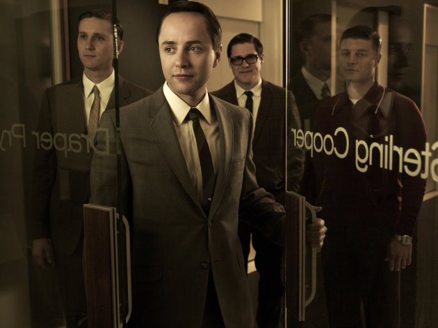 Aaron Stanton as Ken Cosgrove, Vincent Kartheiser as Pete Campbell, Rich Sommer as Harry Crane, and Jay R. Ferguson as Stan Rizzo in &quot;Mad Men.&quot; 