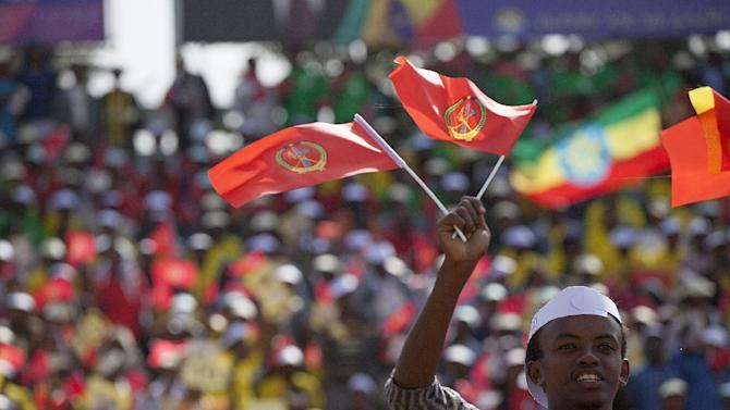 A young man waves the ruling party Ethiopian People's Revolutionary Democratic Front (EPRDF) flag in front of a large crowd during an election EPRDF rally in Addis Ababa on May 21, 2015