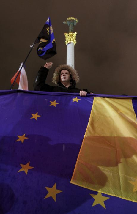 EU and Ukranian flags during a demonstration in support of the EU ...