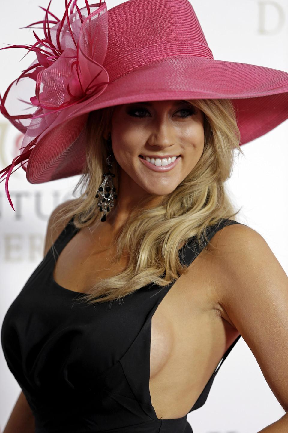 """Ready For Love"" actress Angela Zatopek arrives to attend the 139th Kentucky Derby at Churchill Downs Saturday, May 4, 2013, in Louisville, Ky. (AP Photo/Darron Cummings)"