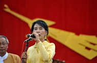 Myanmar opposition leader Aung San Suu Kyi speaks during a visit to Kawhmu outside Yangon on April 17, 2012. Suu Kyi will make her first visit abroad to Oslo in June after years of house arrest, the Norwegian foreign ministry said Wednesday