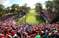 Fans circle the first tee during the Singles Matches for The 39th Ryder Cup at Medinah Country Club in Medinah, Illinois