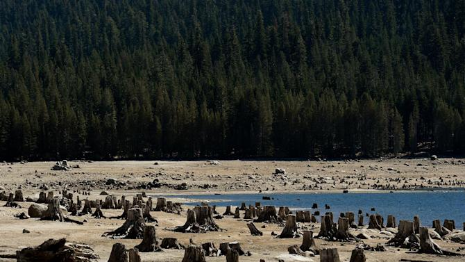 The dried up lake bed of Huntington Lake pictured on September 23, 2014 as a severe drought continues to affect California