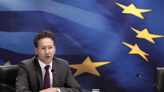 Jeroen Dijsselbloem, who heads the finance ministers of the 17 European Union countries that use the euro, answers questions during a join news conference with Greek Finance Minister Yannis Stournaras, in Athens, on Friday, May 31, 2013. Eurogroup head Jeroen Dijsselbloem credited Greece with the efforts it is making to get its economy back into shape and laid out the hope of a recovery across the 17 EU countries that use the euro in the next year. (AP Photo/Petros Giannakouris)