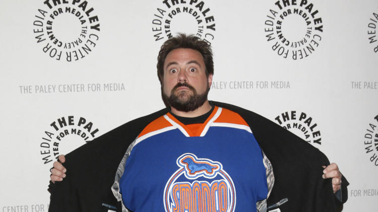 "Kevin Smith attends the west coast premiere of ""Batman: The Dark Knight Returns, Part 2"" at The Paley Center for Media on Monday, Jan. 28, 2013 in Beverly Hills, California. (Photo by Todd Williamson/Invision/AP Images)"