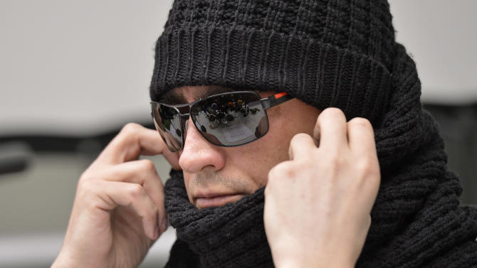 Artistic director of the Bolshoi's ballet troup Sergei Filin  attends a press conference at the university hospital in Aachen, Germany, Friday, March 15, 2013. Filin gets medical treatment in Germany, especially on his eyes, after he was attacked  with acid in January in Moscow .  (AP Photo/Martin Meissner)