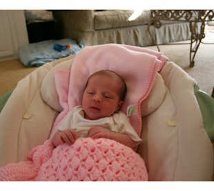 This bouncy chair soothed our daughter long enough for Mom and Dad to eat dinner.