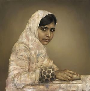 FILE - This undated file photo issued Tuesday Sept. 10, 2013, by the British National Portrait Gallery, shows a painting by artist Jonathan Yeo depicting the teenager education activist Malala Yousafzai, doing her homework. The portrait of the young Pakistani girl who was shot by the Taliban for campaigning for girls' education is being sold by its British artist to help further her cause. (AP Photo / Jonathan Yeo, British National Portrait Gallery, File)