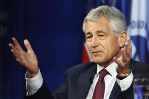 Hagel answers questions following his remarks on NATO expansion and European security at the Wilson Center in Washington