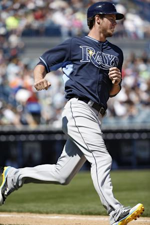 Rays' RF Myers fouls ball off leg, leaves game