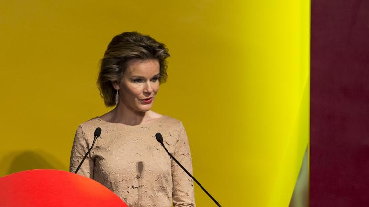 Belgium's Queen Mathilde speaks during the opening ceremony of the Business of Design Week (BODW) in Hong Kong
