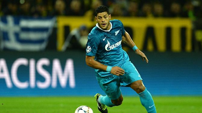 Zenit's Brazilian forward Hulk plays the ball during the last 16 second-leg UEFA Champions League football match Borussia Dortmund vs Zenit St Petersburg in Dortmund on March 19, 2014