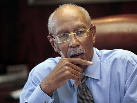 Detroit Mayor Dave Bing talks about the future of the city during an interview in Detroit, Michigan