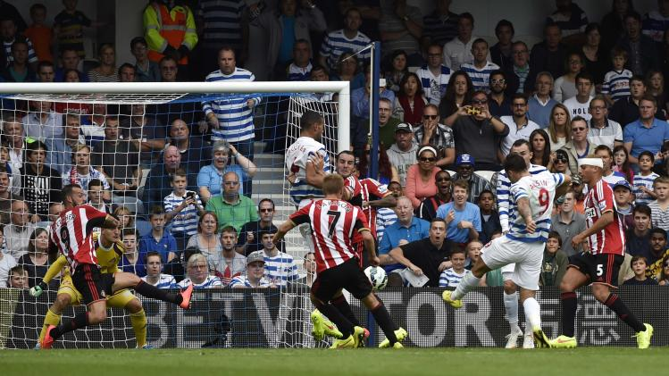 Queens Park Rangers' Austin scores a goal against Sunderland during their English Premier League soccer match at Loftus Road in London