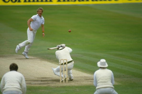 18 Jun 1985:  Wayne Phillips of Australia ducks from a bouncer off Ian Botham of England during the First Ashes Test match at Headingley in Leeds, England. England won the match by five wickets. \ Man