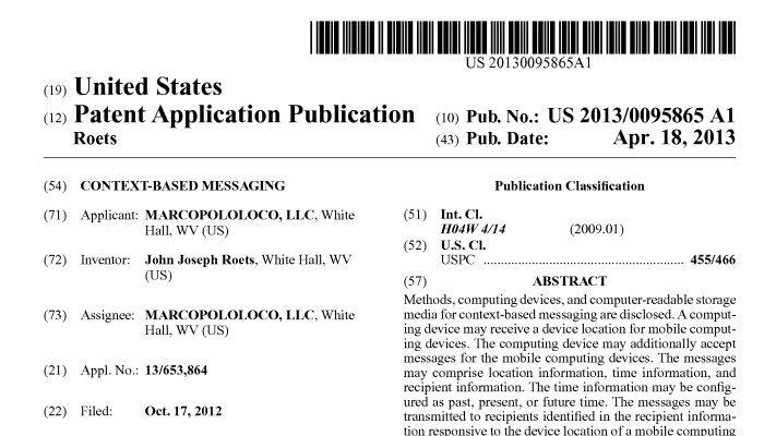 Spacetime Messaging Patent Published