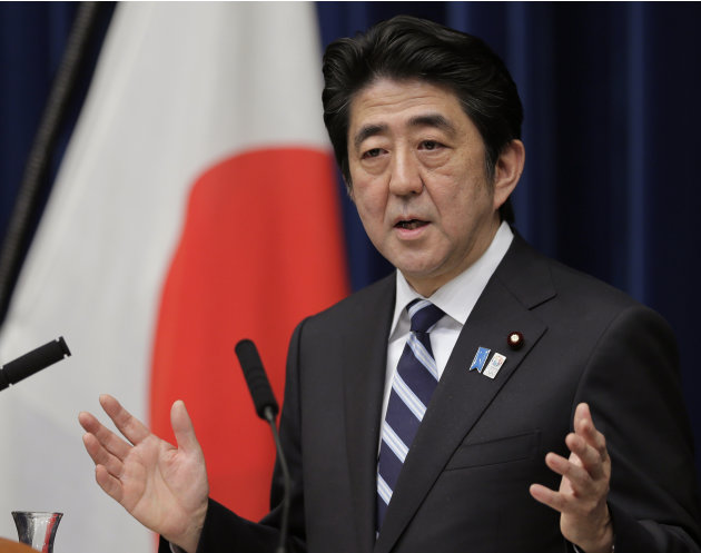 Japanese Prime Minister Shinzo Abe speaks during a news conference on Trans-Pacific Partnership or TPP at his official residence in Tokyo, Friday, March 15, 2013. Abe announced Friday that Japan will