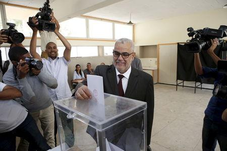 Abdelillah Benkirane, secretary-general of the Islamist Justice and Development party (PJD), casts his ballot at a polling station in Rabat