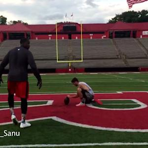 Cincinnati Bengals wide receiver Mohamed Sanu kicks 60 yard field goal