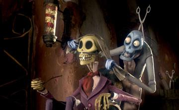 The Dead Pipe Smoker and the Scissors Zombie in Warner Bros. Pictures' stop-motion animated film Tim Burton's Corpse Bride