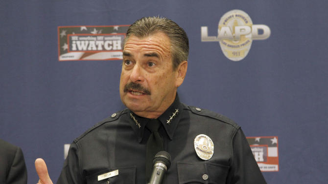 Los Angeles Police Chief Charlie Beck discusses the Ferguson decision protest in Los Angeles Monday night in Los Angeles, Tuesday, Nov. 25, 2014. Beck says only three people were arrested in protests across Los Angeles following the announcement that a Missouri police officer would not be indicted in the fatal shooting of a young black man. Beck said Tuesday there were no injuries and no property damage during hours-long demonstrations.  (AP Photo/Nick Ut)