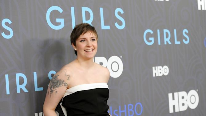 """FILE - This Jan. 9, 2013 file photo shows creator, executive producer and actress Lena Dunham at the HBO premiere of """"Girls"""" at the NYU Skirball Center in New York. The series is one of the recipients of the 72nd annual Peabody Awards, announced Wednesday, March 27, 2013,  by the University of Georgia's journalism school. They were chosen by the Peabody board as the best electronic media works of 2012. (Photo by Evan Agostini/Invision/AP, file)"""