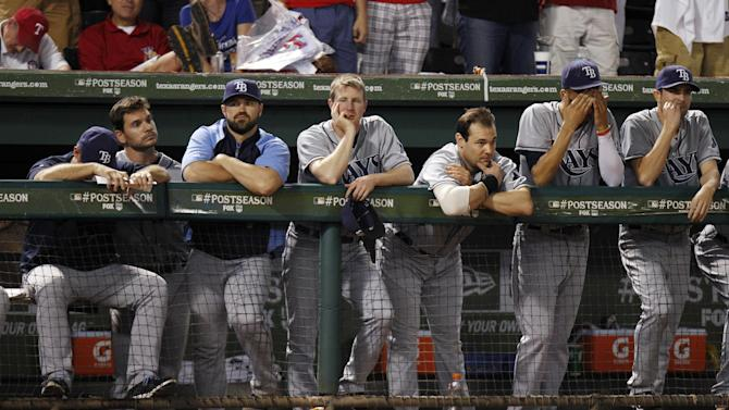 Tampa Bay Rays bench watches action against the Texas Rangers during the ninth inning in Game 2 of baseball's American League division series playoffs, Saturday, Oct. 1, 2011, in Arlington, Texas. The Rangers won 8-6. (AP Photo/LM Otero)